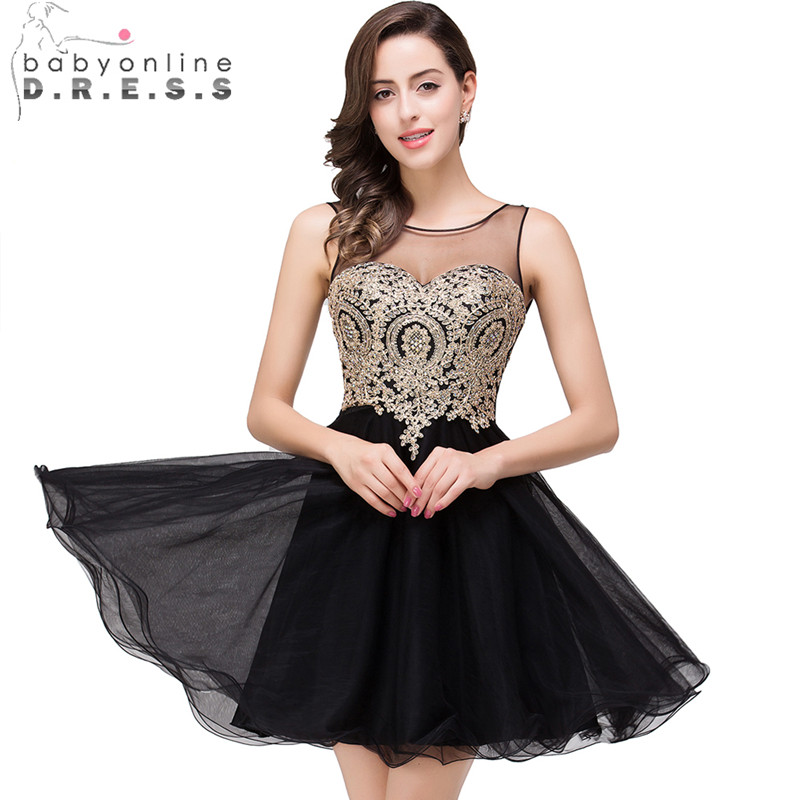 1fce0f3a39a Black and Gold Short Homecoming Dress Promotion-Shop for .