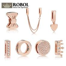 ROBOL Original 925 Sterling Silver Reflexions Dazzling Rose Gold C Silicone Clip Strings Jewelry For Women 1:1 Crown Butterfly