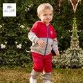 DB4756 dave bella primavera conjuntos de roupas crianças com capuz conjuntos de roupas esportes dos meninos do bebê 1 conjunto toddle conjunto vermelho
