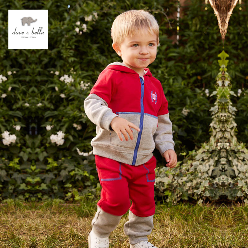 DB4756 dave bella spring baby boys sports clothing sets kids hooded sets clothes 1set toddle red set intex бассейн надувной колодец желаний