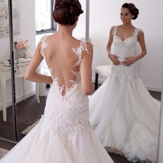 Sweetheart Organza Mermaid Wedding Dresses 2017 Cap Sleeve Backless