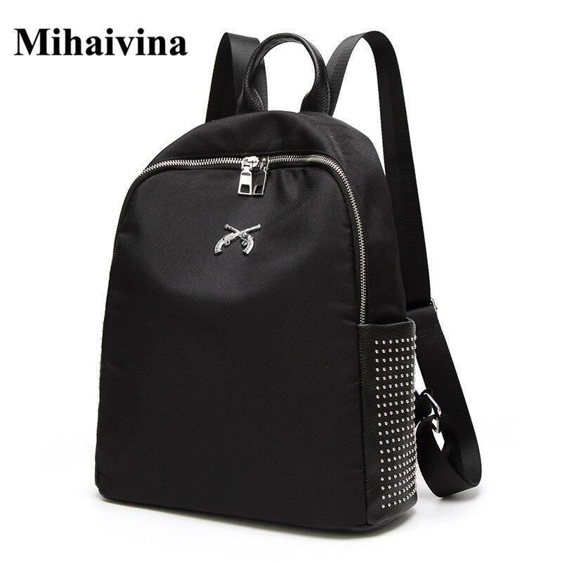 여성 배낭 옥스포드 리벳 배낭 여성 유행 디자이너 학교 가방 청소년 여자 여행 Mochilas 빈티지 어깨 가방.
