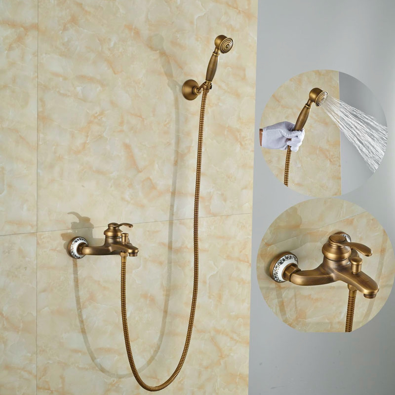 Newly W/Hand ShowerTub Faucet Wall Mounted Single Lever Antique Brass Shower Set newly vintage antique brass shower faucet set rainfall shower head w ceramics hand showe retro wall mount