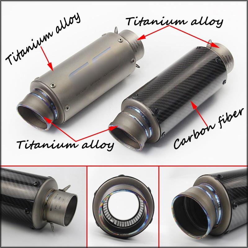 60.5mm Motorcycle Exhaust Pipe Titanium Alloy Silencer System For Yamaha R6 Kawasaki Z800 Suzuki GSXR600 K6K7K8K9 Honda CBR1000