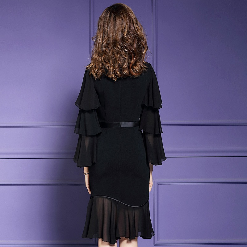 Spring 2019 new Flare Sleeve Office Lady Chiffon dress Women sexy Party Dress black Plus Size High street Ruffles dresses summer-in Dresses from Women's Clothing    2