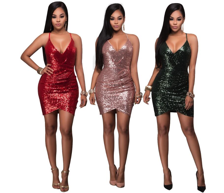 sexy ladies v neck slim fit sequin flapper dress new year party club dress in dresses from. Black Bedroom Furniture Sets. Home Design Ideas