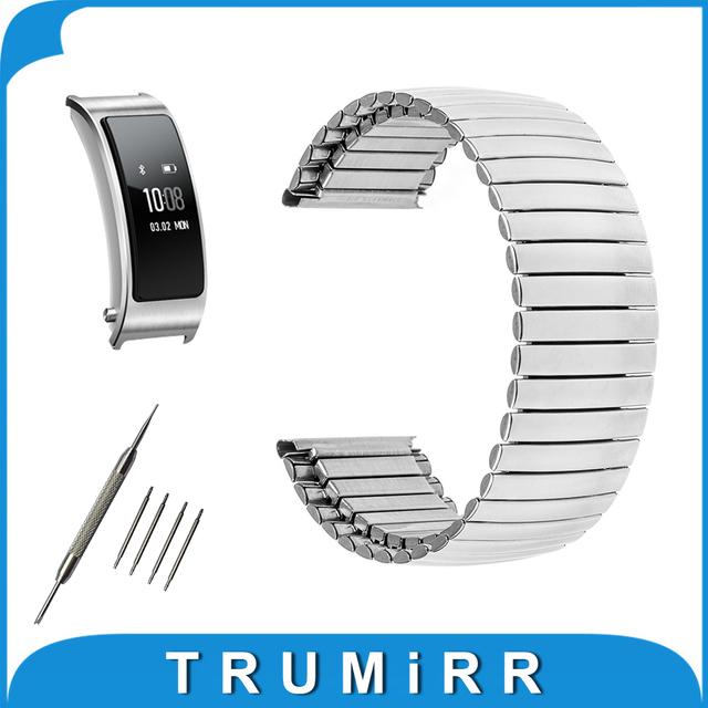 16mm pulseira elástica para huawei talkband b3 smart watch band aço inoxidável correia de pulso pulseira cinto de prata + barra de mola