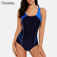 Charmo One Piece Women Sports Swimwear Swimsuit Patchwork Beachwear fitness slim Bathing Suit Padded Bikini Monikini