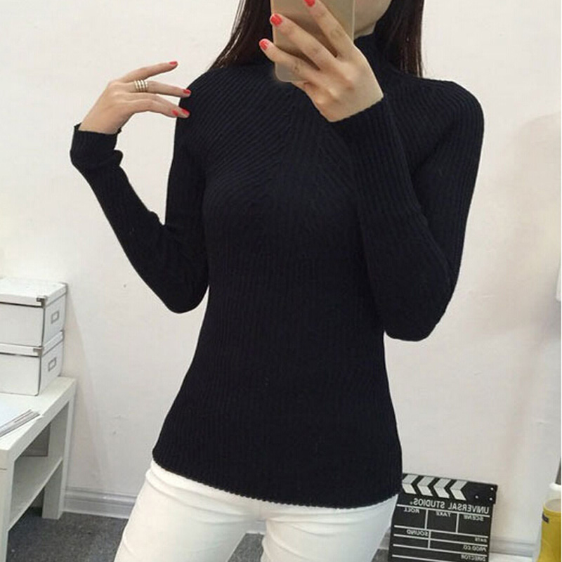 Women Long Sleeve Turtleneck Sweater Slim Tight Pullover Knitted ...