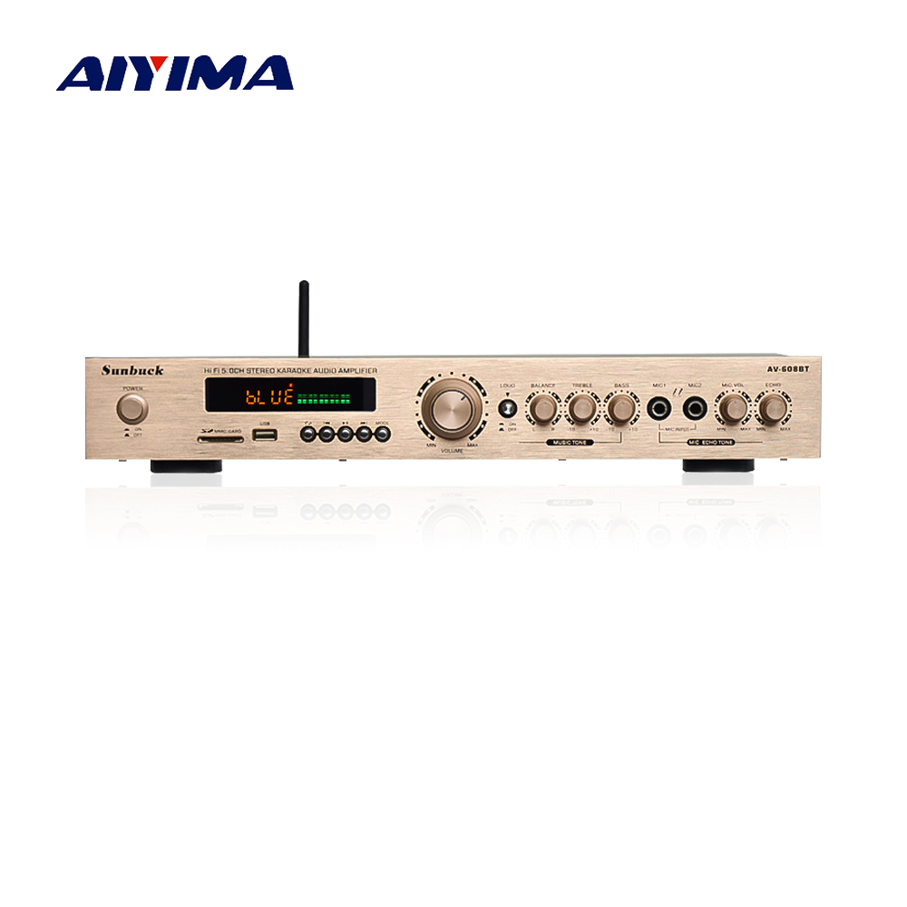 Aiyima Bluetooth Amplifier HIFI 5.0 Channel Karaoke Amplifier 120W*2+50W*2+25W*1 Home Theater Audio With AUX FM USB SD Remote 2018 lpa50 600w fihi av 5 1 channel home theater bluetooth 4 0 digital audio amplifier with fiber coaxial usb sd lossless player
