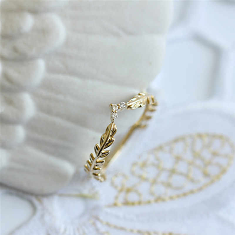 Anéis de dedo dourado para mulheres, romad trigo, símbolo da festa, joia de planta, bijuteria, femme r3