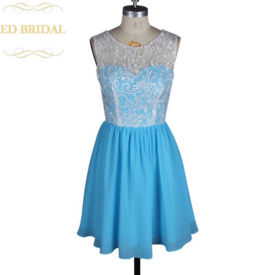 Two Tone Ivory Venice Lace Sky Blue Chiffon Short Bridesmaid Dress ...