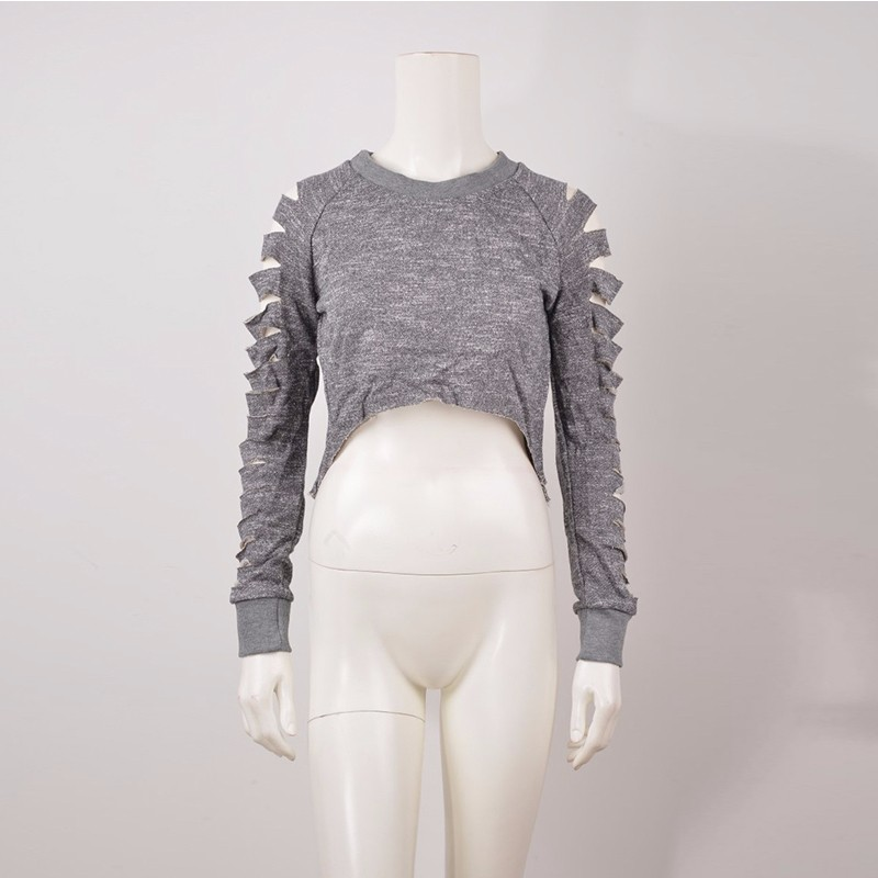 S M L Gary Short Long Sleeve New Hot Women Summer Fashion Tops Hollow Out Femme Cut Out Round Neck Hoodie Boho Tees (3)