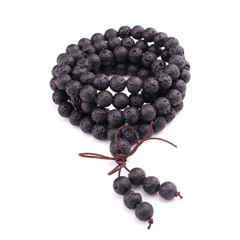 108PCS 6mm/8mm/10mm Black Lava Long Bracelets & Bangle For Women Men Fashion Handmade Prayer Malas Natural Stone Beaded Bracelet