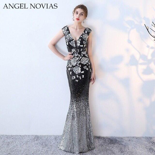 16abb1af439 Angel Novias Long Sexy Black Mermaid Evening Dresses 2018 Long Ombre