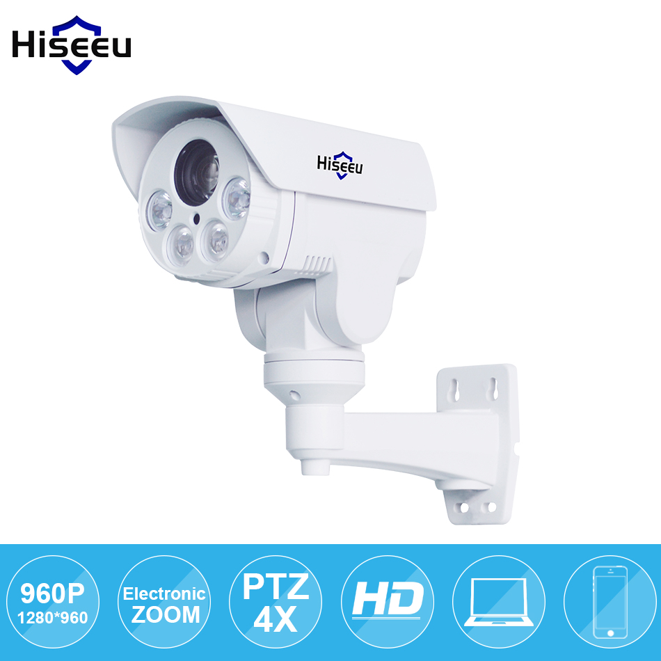 IP Camera PTZ Bullet 4X Zoom 960P IP Speed dome Project Night Vision Outdoor Waterproof IP66 IRCUT ONVIF P2P ONVIF POE Hiseeu hd 1 3mp ip camera ptz bullet 4x zoom 960p hd project night vision outdoor waterproof ircut onvif p2p onvif poe hiseeu