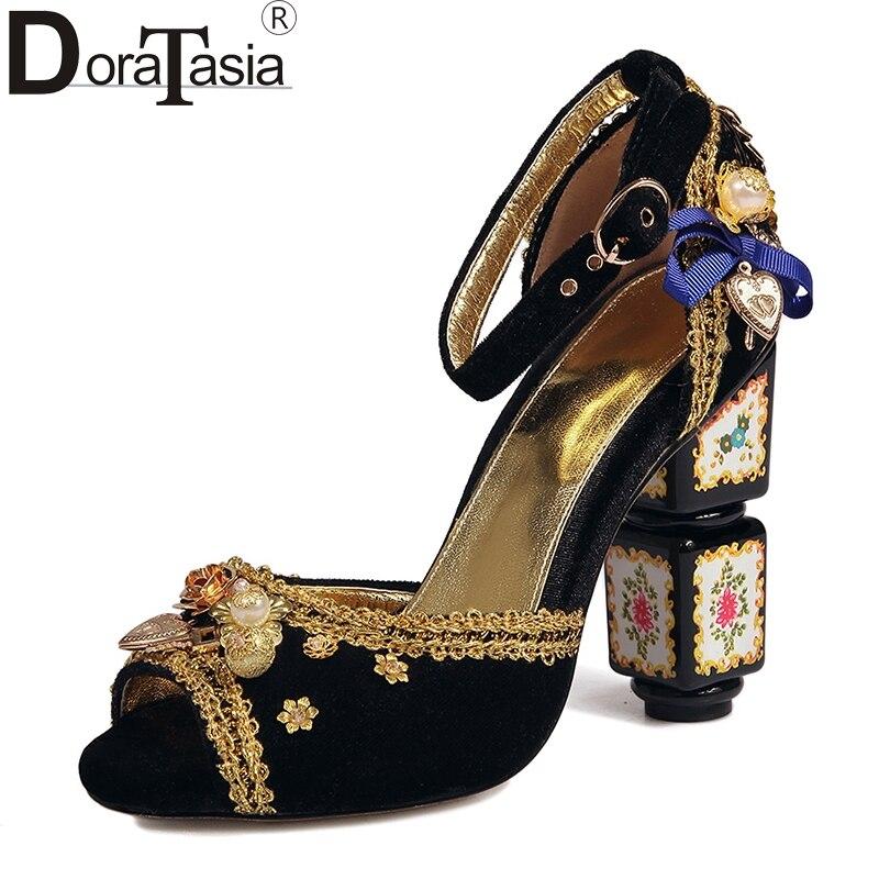 DoraTasia 2017 Trendy Design Large Size 34-43 Lesure Ethnic High Heels Pumps Women Classic Princess Style Shoes Woman Shoes акустика центрального канала piega classic center large macassar high gloss