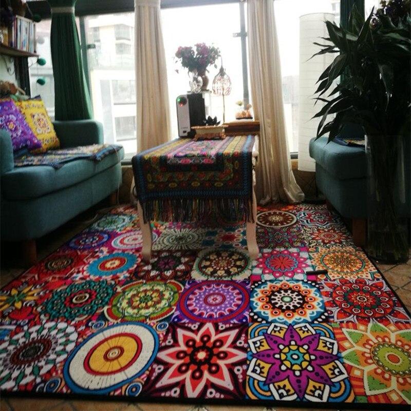 Bohemian Carpet Living Room Decorative Bedroom Carpet Vintage Sofa Coffee Table Rug Large Design Floor Mat Study Room Area Rugs