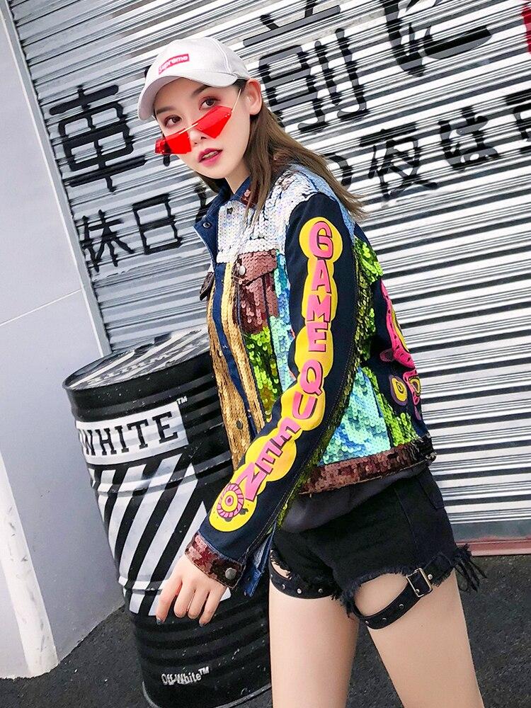 Xy Brillant Crop Top Léopard Automne Printemps Paillettes Bomber Court Bas Tournent Outwear Mode Cool Veste Denim Le 989 Vers Hipster UwqEE