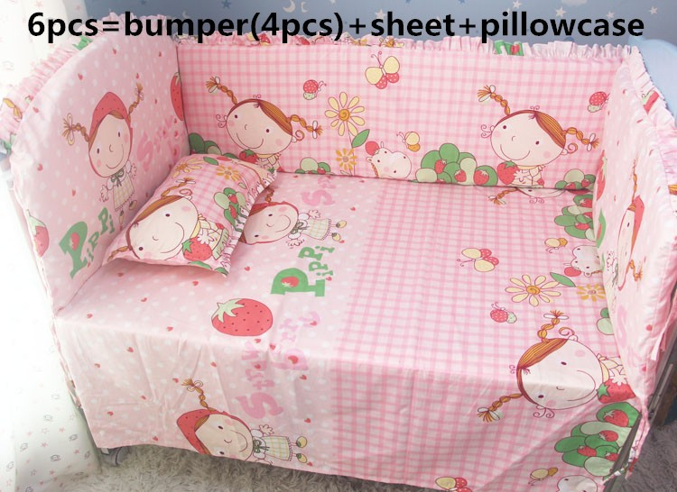Promotion! 6pcs Strawberry Girl baby bedding set 100% cotton crib bumper baby cot sets ,include (bumpers+sheet+pillow cover) promotion 6pcs strawberry girl baby bedding sets infant bedding set bumpers for cot bed bumpers sheet pillow cover