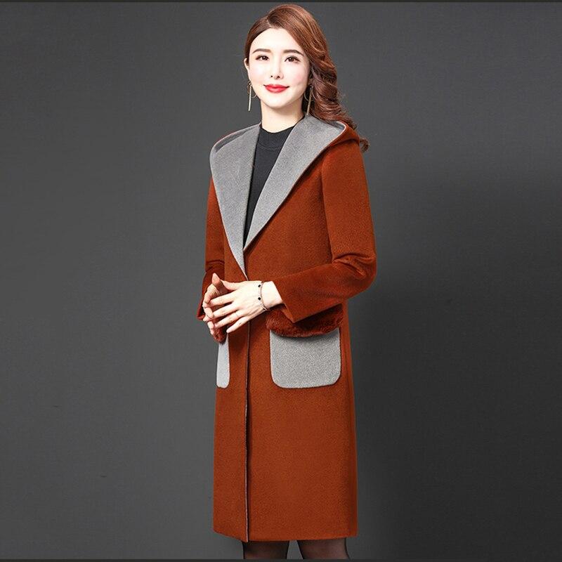 Chaud Mince Capuchon Nouvelle Veste D'hiver Mode Automne Manteau Plus 4xl De Red Laine La Coréenne Manteaux Dames Femmes 2019 Taille Longue À qfaCfw4