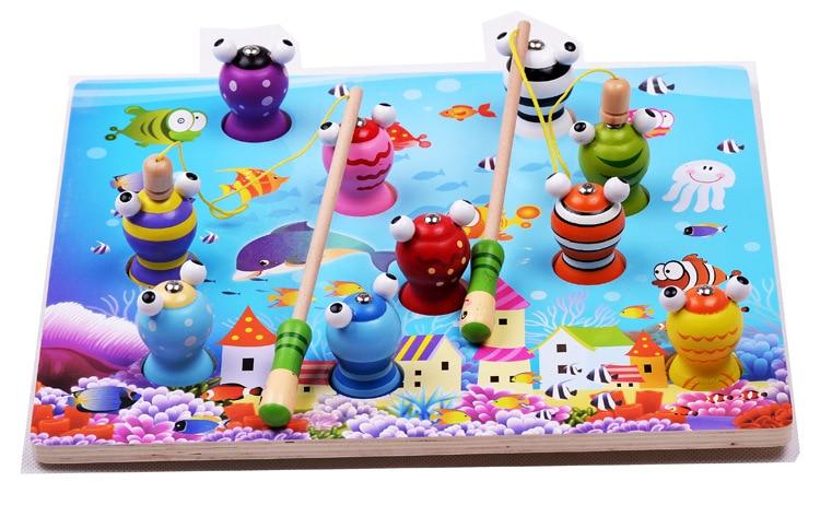 цена на Educational Wooden Toy Baby Kids 3D Toys Building Blocks Frog Models Magnetic Fishing Blocks Cartoon Intelligence Baby Toys/Gift