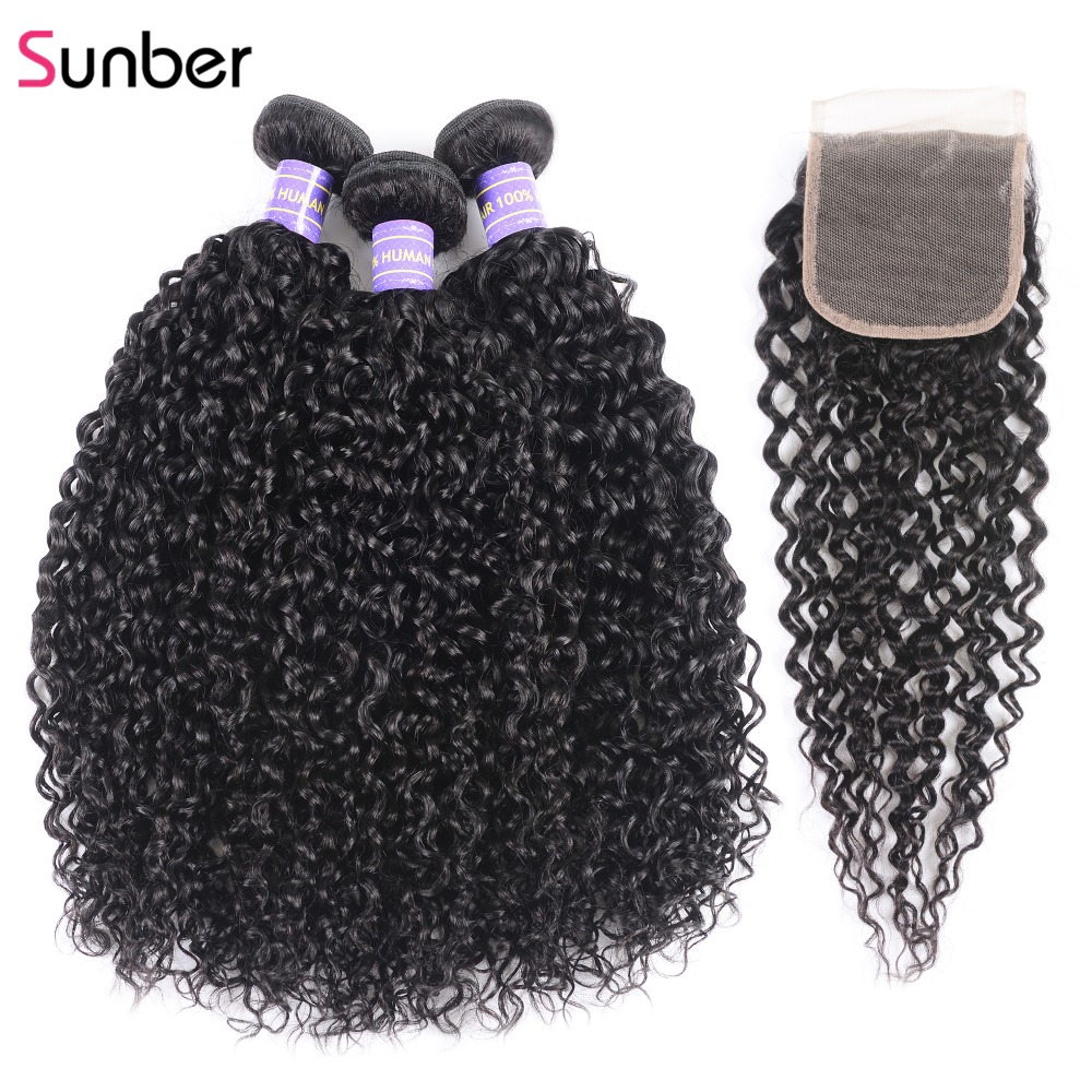 Sunber Hair 3 Piece Malaysian Curly Hair With Closure 100 Remy Human Hair Bundles With Closure