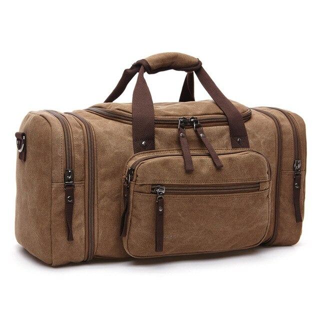 MARKROYAL Мужская парусиновая дорожная сумка мужской большой Ёмкость дорожные сумки ручной клади Сумка ночь дропшиппинг - Цвет: Coffee Brown