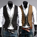 2016 new brand double pcs men suit vest waistcoat men casual good quality sleeveless slim fit dress vests for men size 2xl
