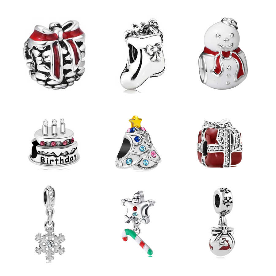2018 Father Christmas socks snowman wapiti  Bead  Fit Women Pandora CHARM alloy original Bracelet & Bangle DIY P007