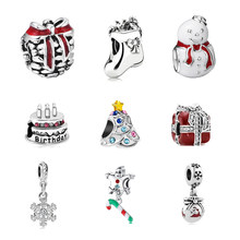 2018 Father Christmas socks snowman wapiti Bead Fit Women Pandora CHARM silver 925 original Bracelet & Bangle DIY Jewelry(China)