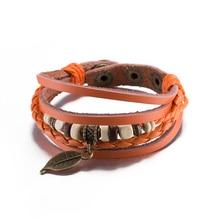 High Grade Orange Hemp Rope Wrap Cute Women Bracelets Stainless Steel Round Beads Hollow Leave Bracelet Leather Strap Wristband
