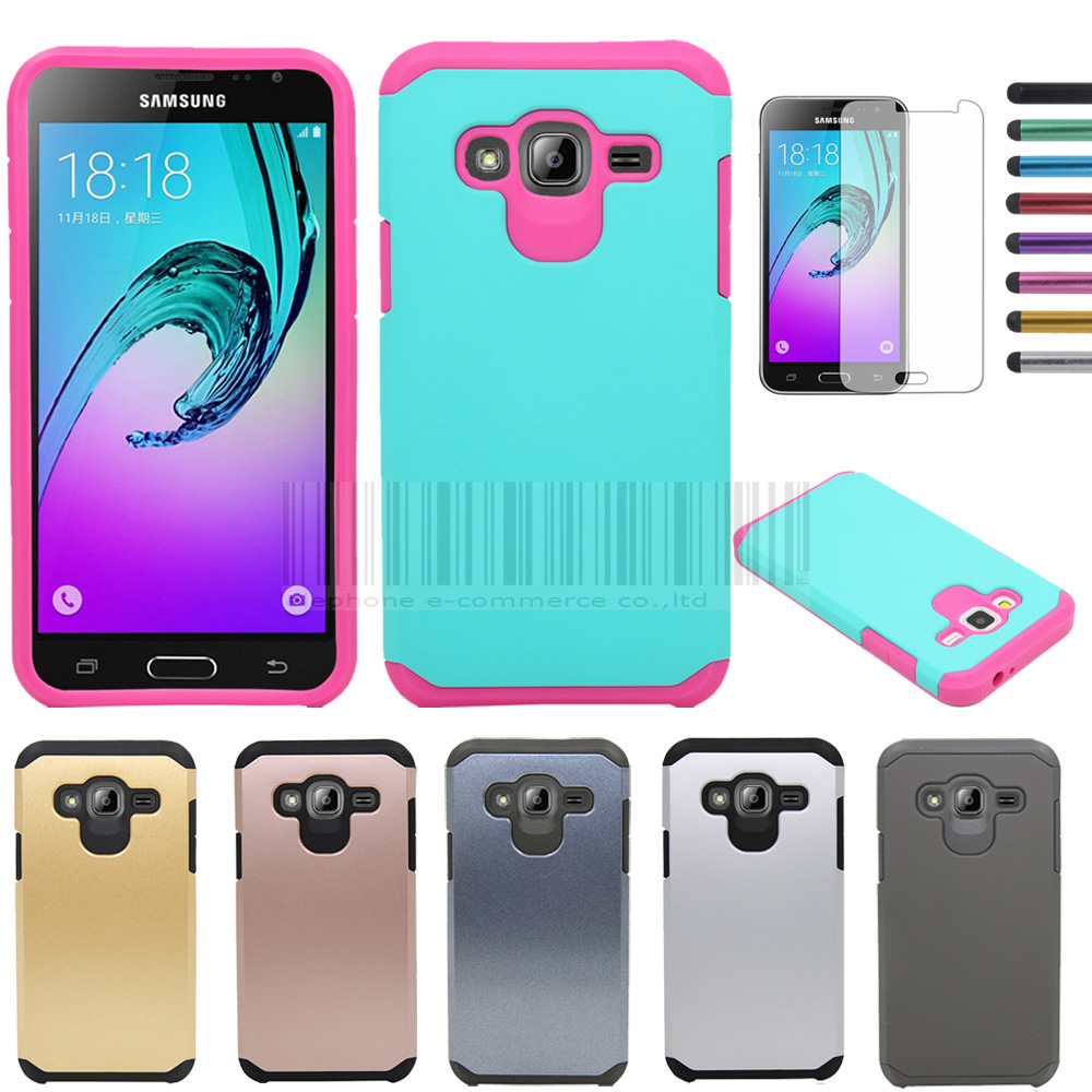 Rubber Hybrid Protective Armor Case Hard Impact Cover With Magnet Ferit Diameter 7mm Tdk Zcat 1730 0730 Films Stylus For Cricket Samsung Galaxy Amp Prime