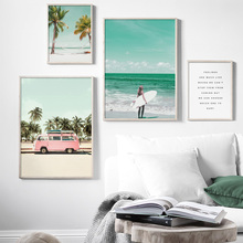 Surf Girl Beach Coconut tree Sea Car Wall Art Canvas Painting Nordic Posters and Prints Pictures For Living Room Home Decor