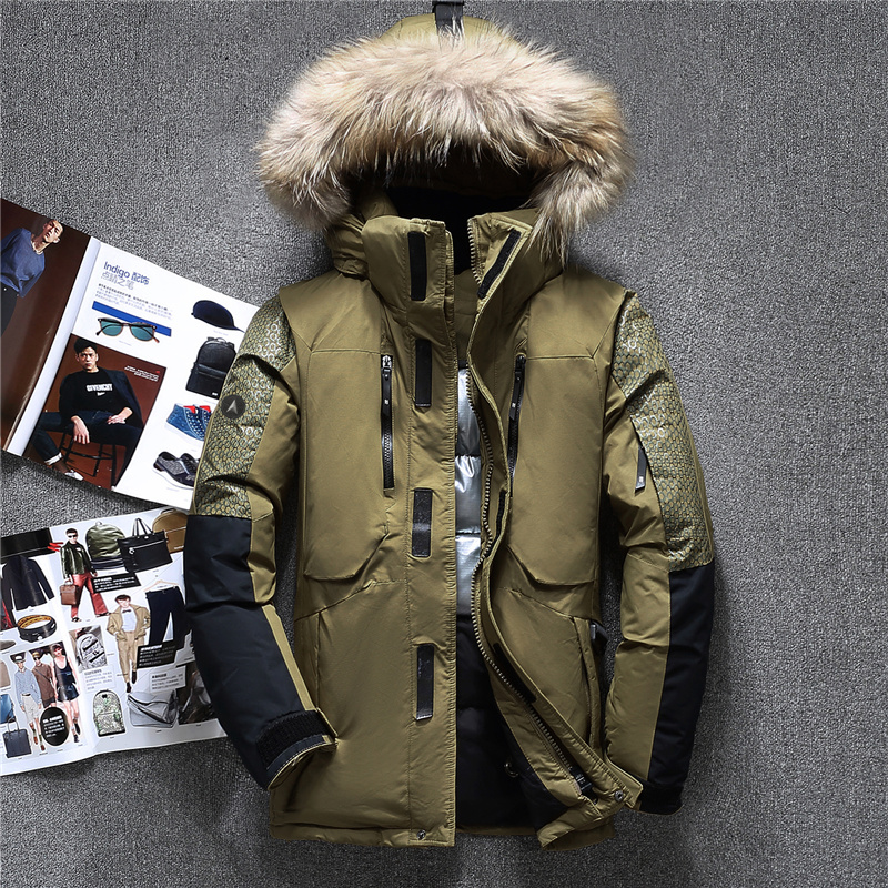 Winter Big Genuine Fur Hooded Duck Down Jackets Men Warm High Quality Down Coats Male Casual Winter Outerwer Down Parkas JK-1798