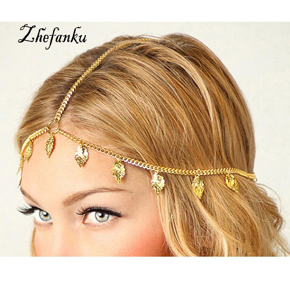 Romantic Crown Indian Hair Jewelry Accessories Head Chain Bohemia Forehead Pearl Headband For Women 2017