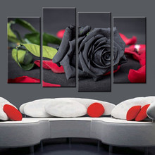 Art Poster Modern Home Decor Living Room 4 Panel Black Roses Flowers Framework Wall Canvas HD Print Painting Modular Pictures(China)