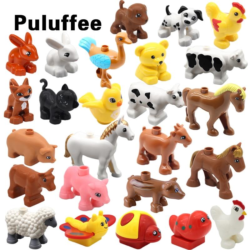 Série animal fazenda avestruz cavalo inseto grandes partículas modelo blocos de construção criativo diy tijolos educação brinquedos para crianças presente