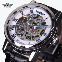 2016 WINNER hollow mechanical hand-wind men women watches classic carving skeleton gold dial genuine leather strap wrist watch