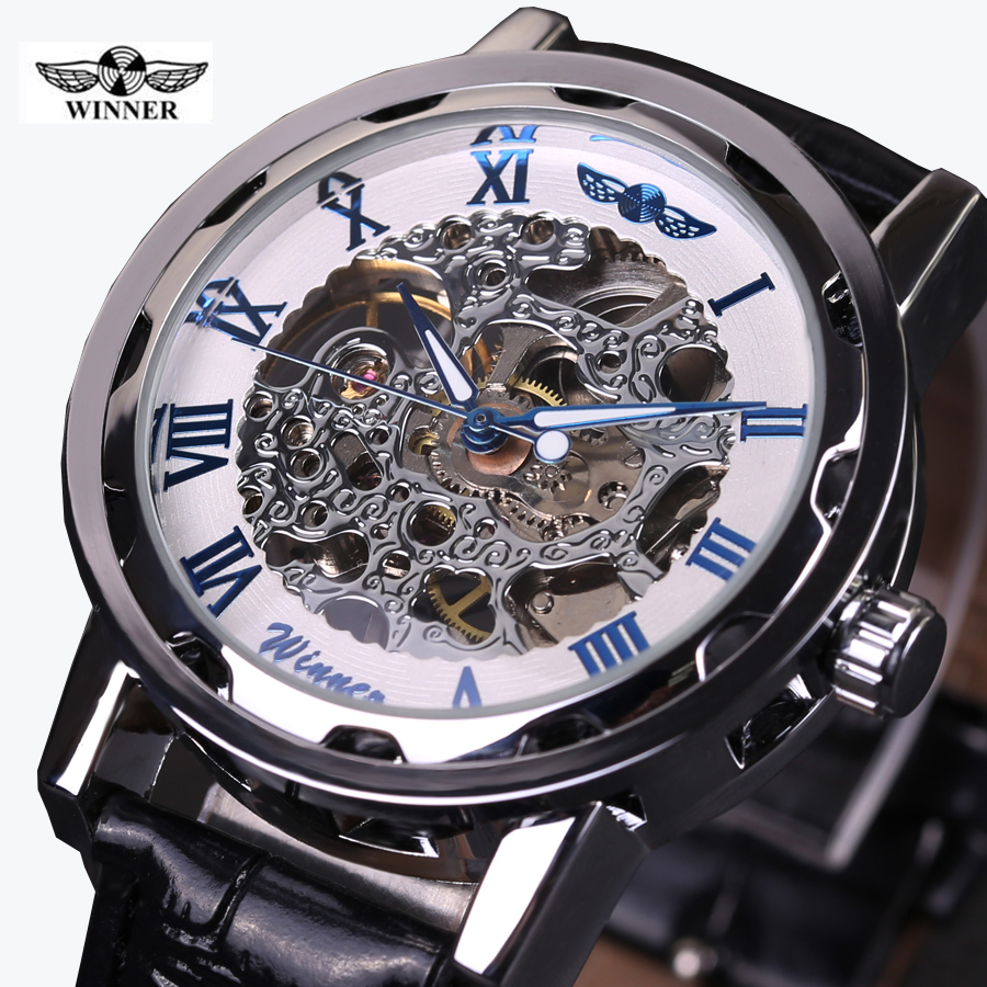 2016 WINNER hollow mechanical hand-wind men women watches classic carving skeleton gold dial genuine leather strap wrist watch ks black skeleton gun tone roman hollow mechanical pocket watch men vintage hand wind clock fobs watches long chain gift ksp069