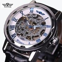 2016 WINNER rỗng tay cơ khí-gió nam nữ đồng hồ cổ điển khắc skeleton vàng quay số genuine leather strap wrist watch