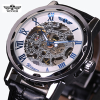2016 WINNER Hollow Mechanical Hand Wind Men Women Watches Classic Carving Skeleton Gold Dial Genuine Leather