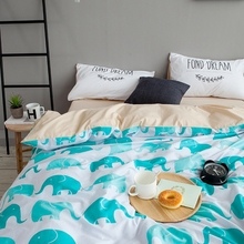 Cute Elephant Printed Duvet Cover Set 100% Cotton Solid Color Bed Sheets Pillow Case Queen Size Bedding Sets For Adults Bed Set
