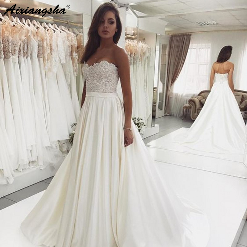 Elegant Sweetheart Backless Lace Top Wedding Dress Satin Ivory