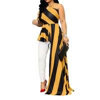 2018 Women New Fashion Summer Stripe Slash Neck One Shoulder Puff Sleeve Asymmetric Hem Slim Tops Blouse