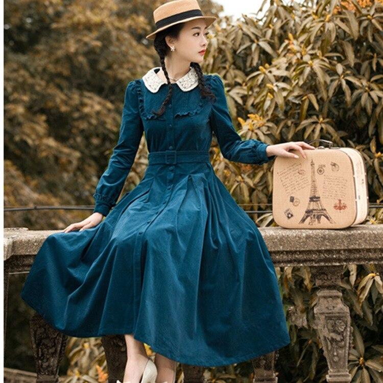 2017 Autumn Winter Women dress Vintage Retro Peter Pan Collar Elegant Long Sleeve Belt Midi Dresses Tunic Vestidos
