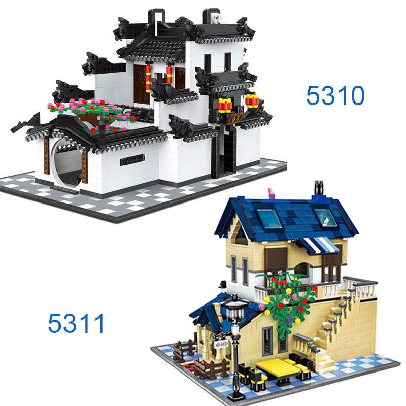WANGE 5310 5311 Building Blocks CHINA HUI-STYLE Architecture 1575pcs DIY Bricks Educational Funny Kids Toys for Home Decor wange educational learning toys kids diy set toys cars plastic model kits building bricks blocks for boys 4 in 1 with motor
