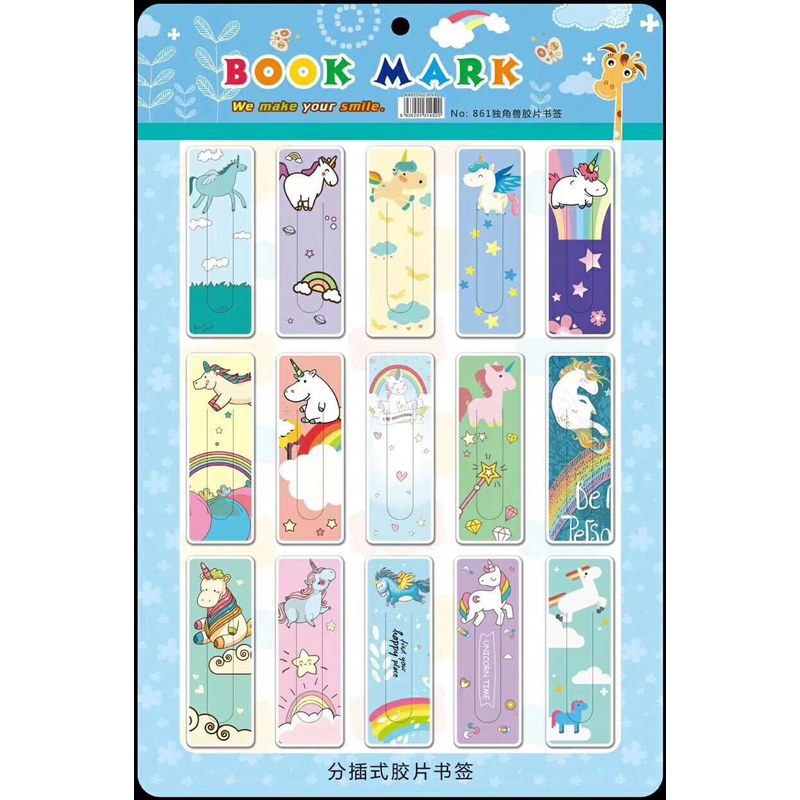 15Pcs/Set Kawaii Cute Flamingo Unicorn Aniamls Paper Bookmark Innovate Gift Stationery Film Bookmark Stationery