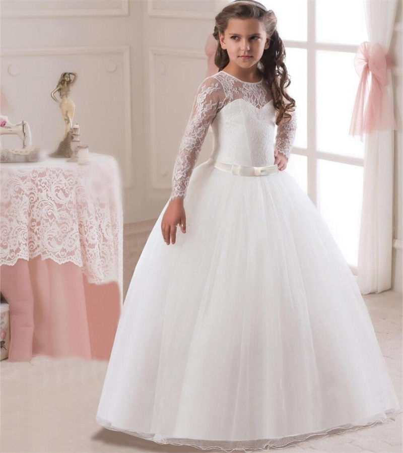 Flowers Girls Long Mesh Lace Sleeve Dress Princess Wedding Party Prom Ball Gown