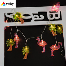 Baby Shower Flamingo Coconut Tree 10LED Lights Garland Light String Wedding Decoration Birthday Party Christmas Bedroom Favor,5